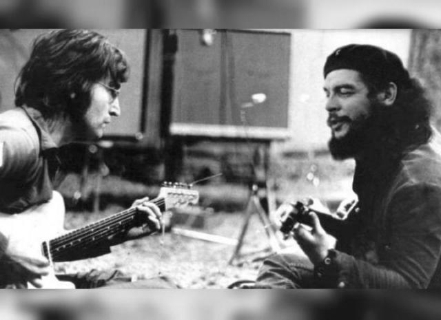 Джон Леннон и Че Гевара играют на гитарах.