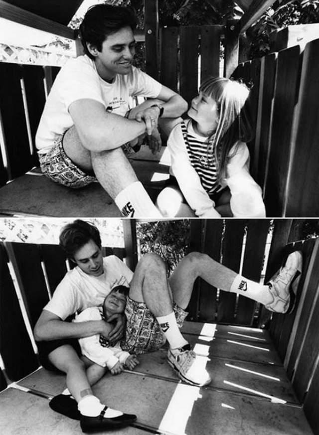 Джим Керри с дочкой Джейн в июне 1991 года.
