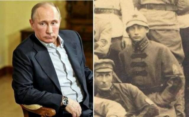 Владимир Путин и красноармеец с фотографии 1920-х годов
