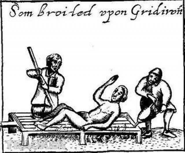 Гридирон. Пытка упоминается еще в житиях святых. Гридирон - обыкновенная металлическая решетка, установленная горизонтально на ножках, чтобы иметь возможность развести под ней костер.