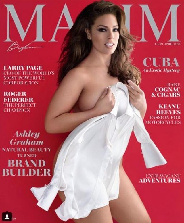 Вызвавшая гнев поклонников модель стала первой дамой с пышными формами, которая появилась на обложке мужского журнала Maxim .