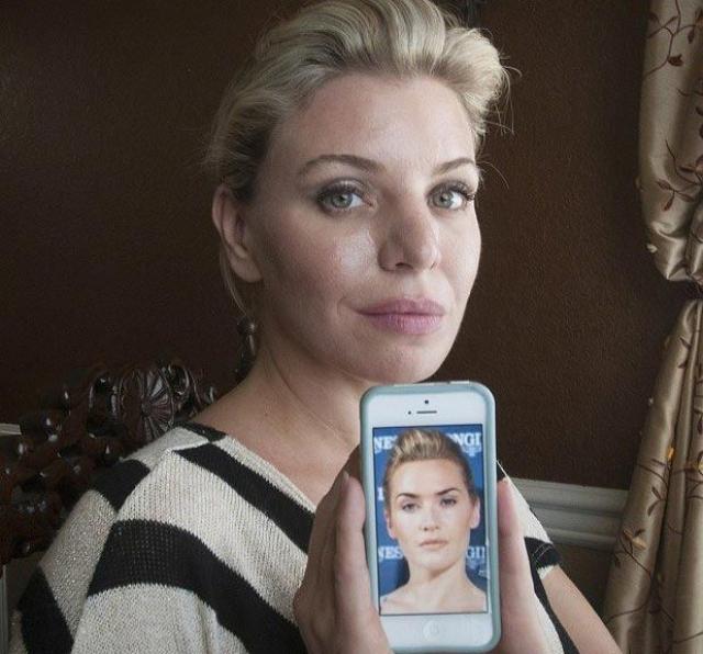 Дебора Дэвенпорт - Кейт Уинслет. Всю жизнь 40-летней Деборе говорили, что она похожа на Кэмерон Диаз, но женщина больше хотела походить на Кейт Уинслет.