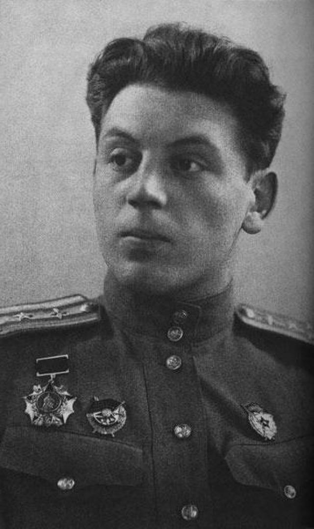 С первых дней Великой Отечественной войны Василий просил отца отпустить его на фронт, и с июля 1942 года занял должность командира 1-й особой авиагруппы, а позже и авиационного полка. Был ранен в ногу.