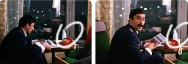 Пока Мимино смотрел журнал, возле бутылки кефира появляется стакан с ложкой.