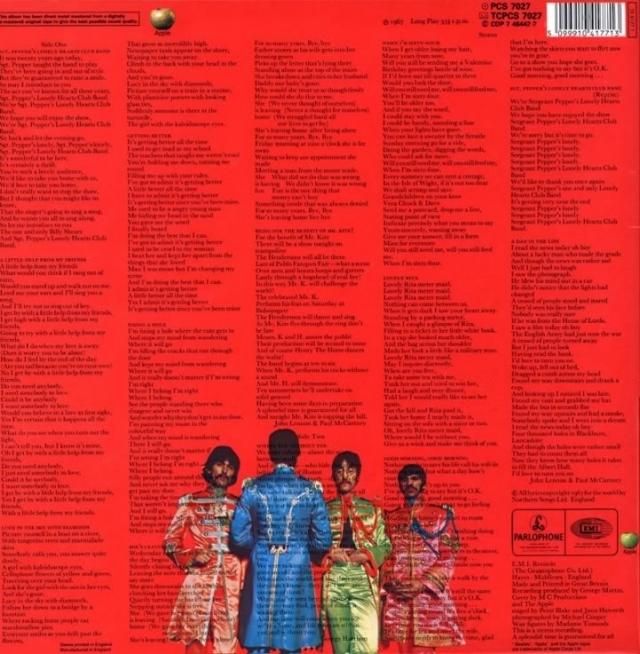 """Группа стала первой в истории, кто напечатал на обратной стороне обложки альбома тексты всех песен. Альбом """"Sgt. Pepper's Lonely Hearts Club Band""""."""