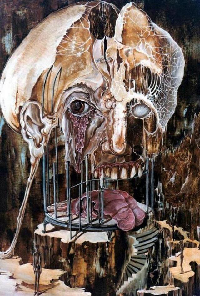 """""""Проигрыш разума перед материей"""", Отто Рапп. На картине - разлагающаяся человеческая голова, надетая на птичью клетку, в которой лежит кусок плоти."""