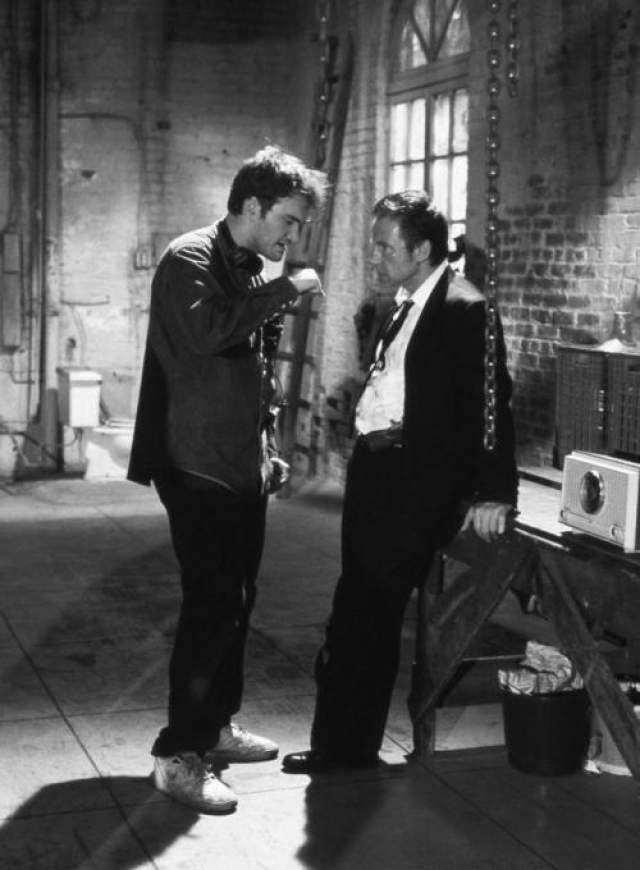 """Квентин Тарантино и Харви Кейтель на съемках фильма """"Бешеные псы"""", 1991 год"""