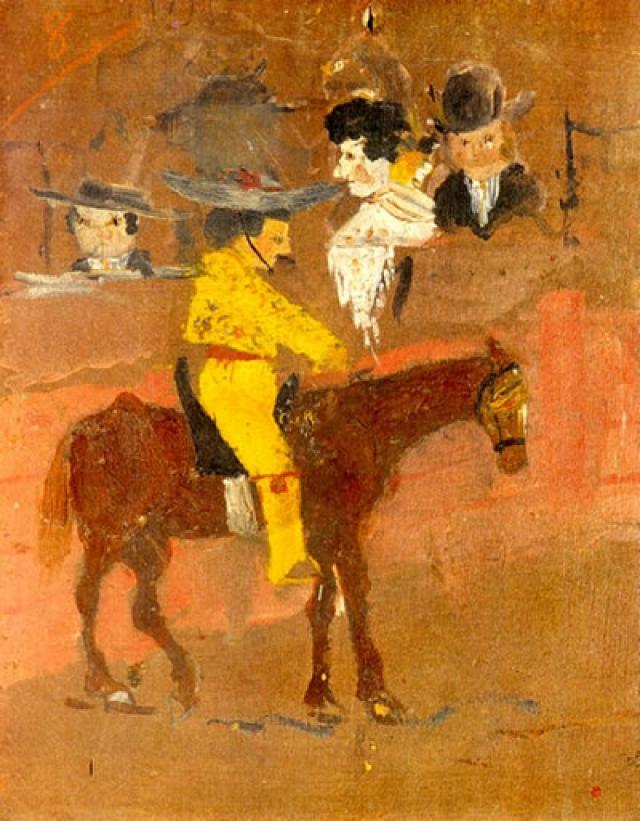"""В восемь лет Пабло написал свою первую серьезную картину маслом, """"Пикадор"""", и не расставался с ней в течение всей жизни. Когда мальчику исполнилось 13 лет, его отец поклялся отказаться от рисования, потому что увидел, что сын превосходит его в этом искусстве."""
