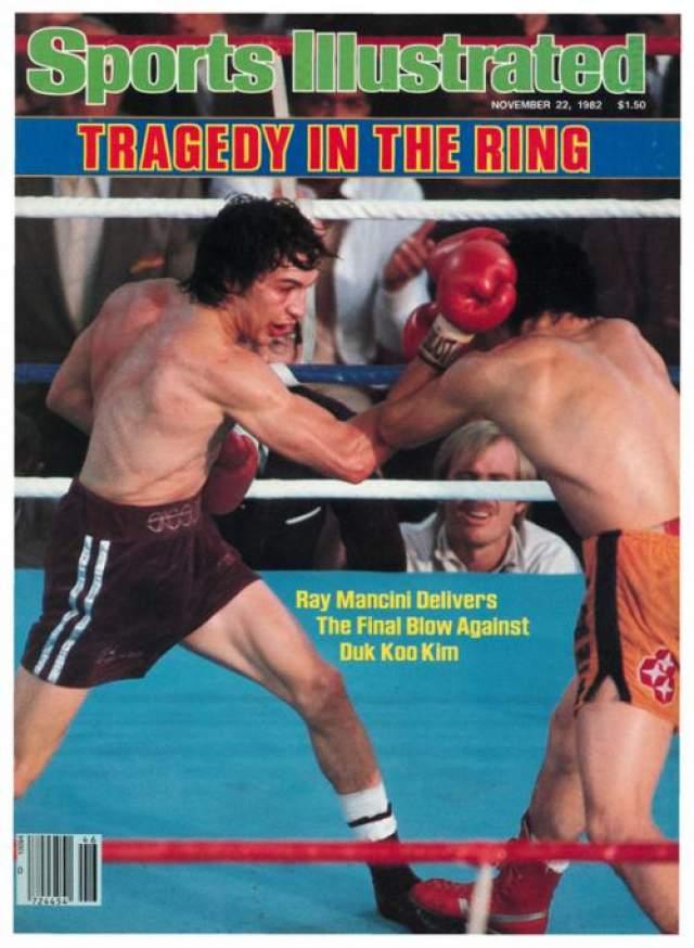 """Через неделю после смерти боксера, популярный американски журнал Sports Illustrated вышел с фотографий схватки Манчини-Ким на обложке, озаглавив ее """"Трагедия на ринге""""."""