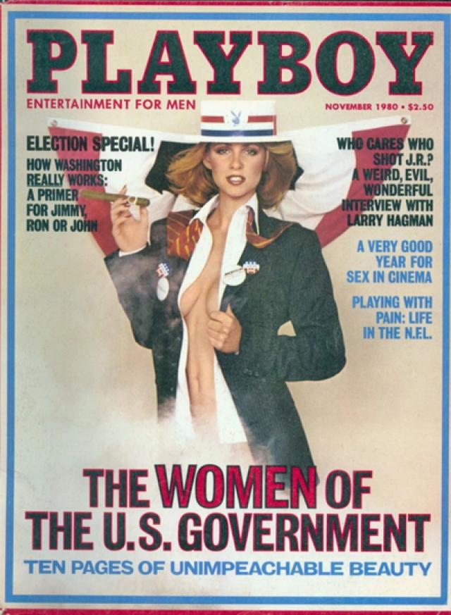 """Всего за несколько дней до того как Рональд Рейган был избран в 1980 году президентом, Playboy отметил патриотический пыл нации специальным выпуском """"Женщины правительства США""""."""