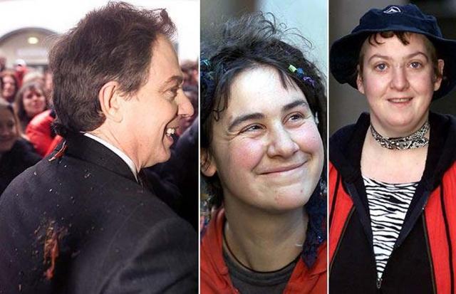 В январе 2001 года тогдашний премьер-министр Великобритании Тони Блэр получил помидором в спину, который бросили студенты в Бристоле во время акции протеста против санкций Ираку.