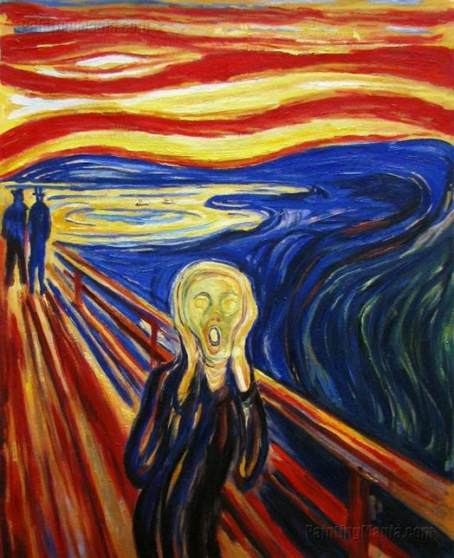 """«Крик» «Крик» является известнейшим полотном норвежского экспрессиониста Эдварда Мунка. Известно, что """"Крик"""" был вдохновлен безмятежной вечерней прогулкой, во время которой Мунк стал свидетелем кроваво-красного заходящего солнца."""