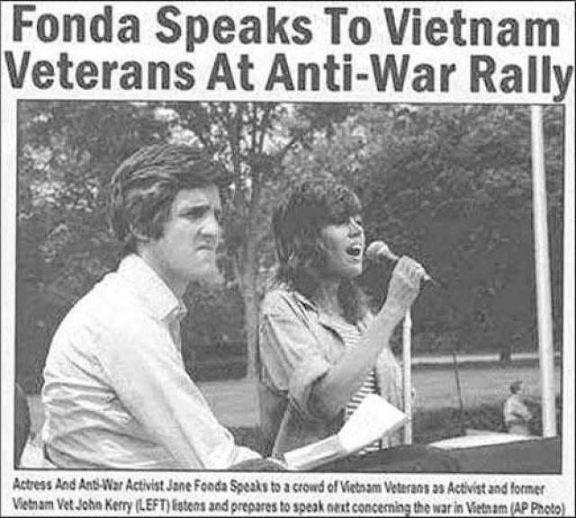 Во время выборов президента США в 2004 году в прессу были вброшена фотография, на которой актриса и активистка антивоенного движения Джейн Фонда выступает перед аудиторией, рассказывая о военных преступлениях американцев, а рядом с ней якобы готовится к своему выступлению Джон Керри (тогдашний соперник Буша), ветеран вьетнамской войны.