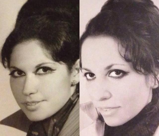 Ретро-макияж делает дочь (справа) еще более похожей на свою мать в том же возрасте.
