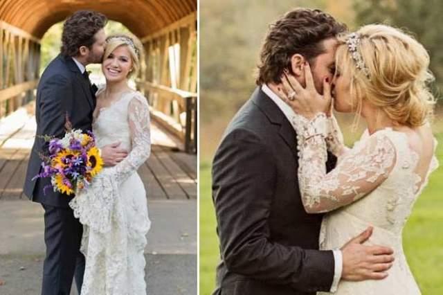 Келли Кларксон, 36 лет. Пять лет назад певица сочеталась законным браком с музыкальным менеджером Брэндоном Блэкстоком в 2013 году.