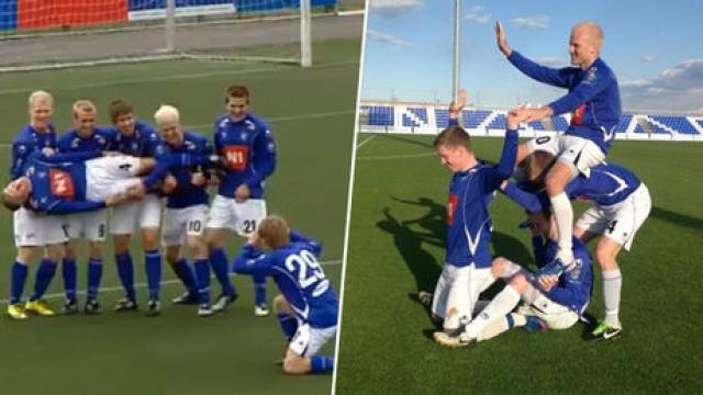 """А вот исландская команда с труднопроизносимым названием """"Стьярнан"""" не завоевывает серьезных футбольных трофеев и титулов - она знаменита другим, а именно тем, как игроки клуба празднуют забитые голы."""