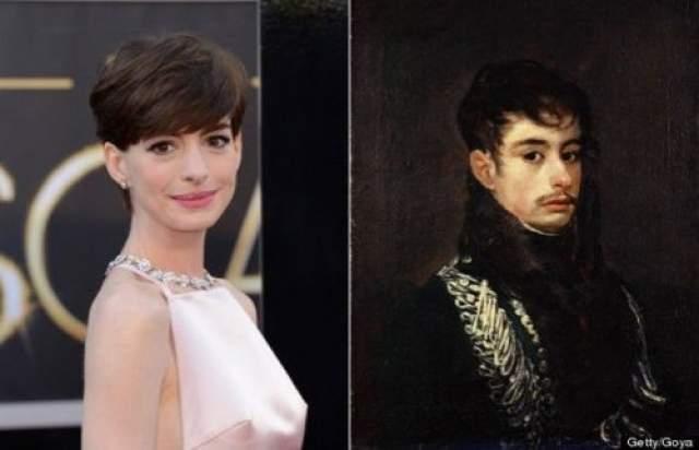 """Энн Хэтэуэй и мужчина с портрета """"Офицер"""" художника Франсиско Гойи"""