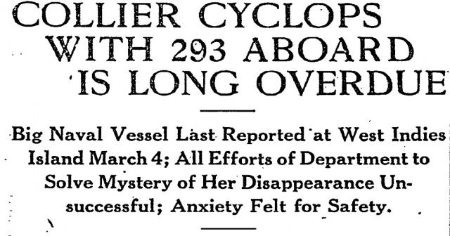 В 1968 году водолаз военно-морских сил Дин Хейвз, разыскивающий пропавшую атомную подлодку «Скорпион», на глубине 60 м в 100 км к востоку от Норфолка наткнулся на корабельный остов. Рассматривая впоследствии фотографию «Циклопа», он уверял, что на дне лежало именно это судно.