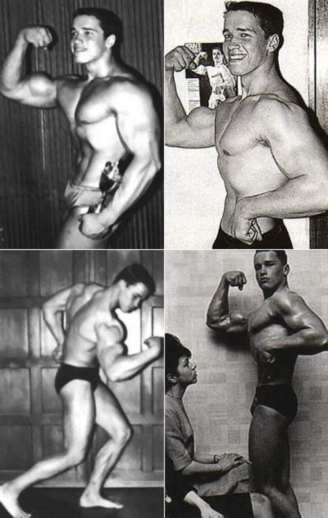 Он ежедневно занимался в тринажерном зале «Либенауэр» в Граце. Во время занятий Арнольд практиковал приём анаболических стероидов. На фото: 1973 год, Арнольду 16 лет.