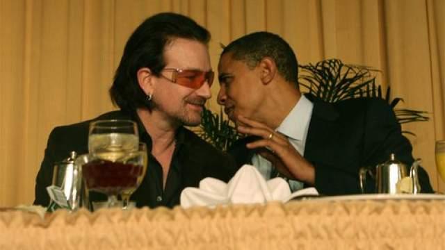 Боно (U2) и Барак Обама. Звезда шоу-бизнеса просто встретил звезду политики за ланчем.