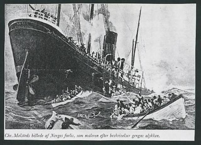 """И хотя в ход быстро были пущены паровые насосы, """"Нордж"""" заметно оседал носом. Вода прибывала быстрее, чем насосы успевали ее откачивать. Судно тонуло, а на его палубах находились 703 пассажира и 71 член экипажа."""