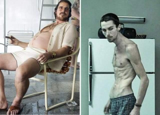 Кристиан Бэйл Ради киноролей актер Кристиан Бэйл просто истязал свой организм. Его изменения удивляют и в то же время пугают. За короткий срок он то худеет, то снова поправляется.
