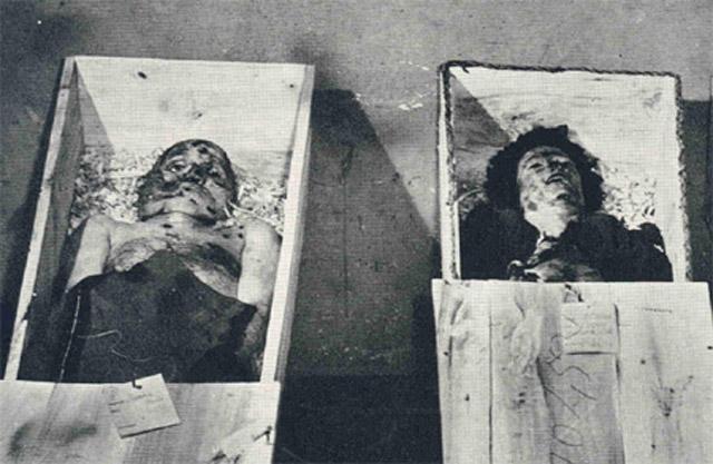 После этого веревки подрезали, и тела некоторое время лежали в сточной канаве. 1 мая Муссолини и Петаччи были похоронены на миланском кладбище Чимитеро Маджиоре, на участке для бедных.