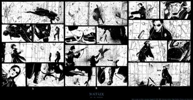Братья Вачовски вынашивали в голове сценарий фильма около пяти с половиной лет, перебрав 14 вариантов сюжета. Финальный концепт-арт состоял из 500 раскадровок.