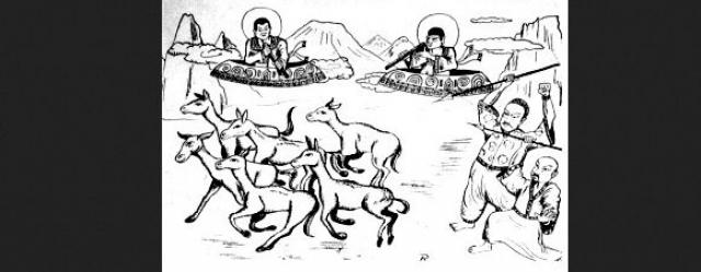 Виманы. Изображение найдено экспедицией 1957 года в лабиринте острова Джото озера Toengt.