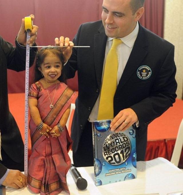 Самая маленькая женщина в мире это Джиоти Амге из Индии.