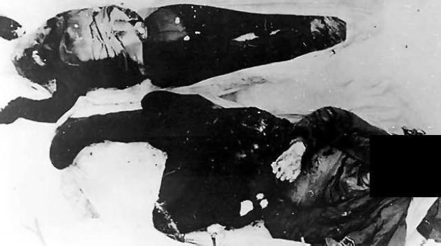 """Колеватов и Золотарев лежали в обнимку """"грудь к спине"""" у кромки ручья, видимо, согревая друг друга. Тибо-Бриньоль находился в воде ручья. На трупах были брюки и свитеры Кривонищенко и Дорошенко. Вся одежда снималась уже с трупов, поскольку была разрезана."""