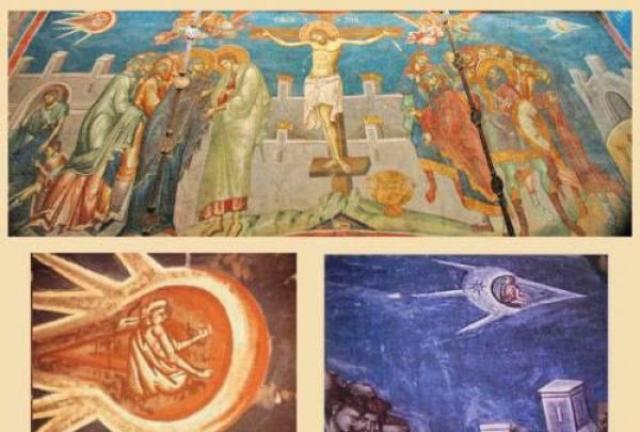 На фреске Распятие в сербском православном монастыре Високи Дечани в Косово, Югославия, и вовсе изображен летчик в некой капсуле.
