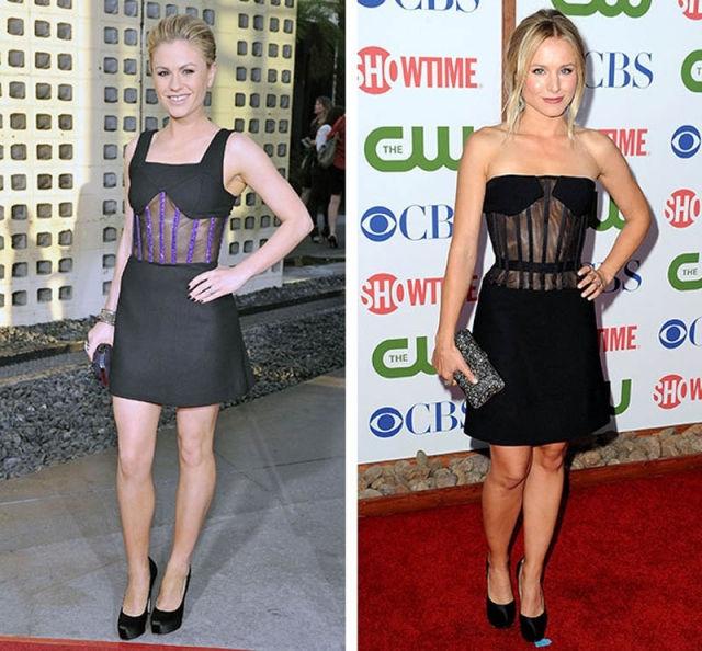 Актрисы Анна Пэкуин и Кристен Белл решили выбрать смелые наряды, причем похожие на 100%.