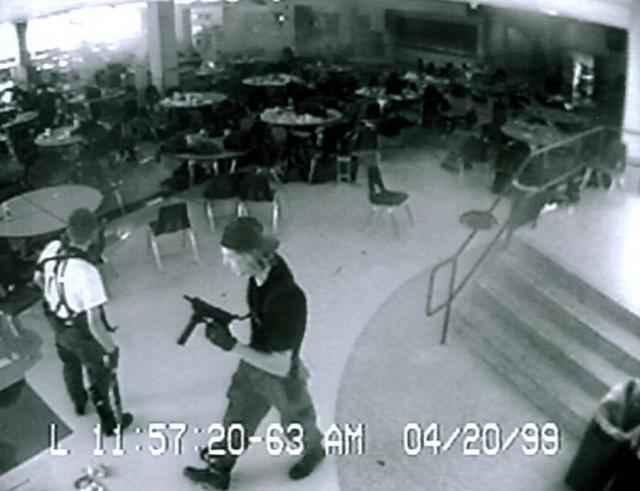 Харрис и Клиболд покинули библиотеку в 11:36. На этот момент 12 школьников были убиты, один учитель истекал кровью (позднее он скончался); 23 человека были ранены, некоторые находились в тяжелом состоянии.