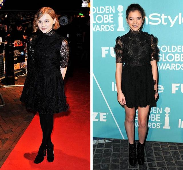 Выбор юных актрис Хлои Моретс и Хэйли Стейнфилд также пал на одинаковые наряды.