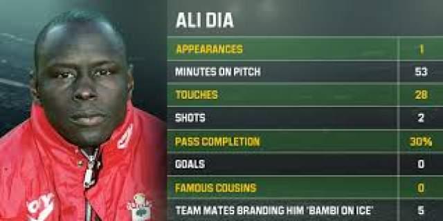 """Али Диа, ф утболист, 52 года . Этой звезде футбола вечную славу принесли 20 минут позора на футбольном поле в 1996 году в игре с """"Лидс""""."""