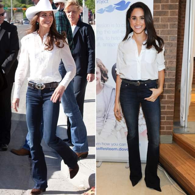 Даже джинсы с белыми блузками они выбирают похожие - хотя клеш последние годы не очень в моде.