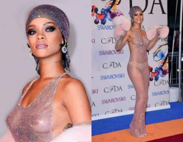 """Рианна В 2014 году на вручении """"модного Оскара"""" певица поразила и жюри и зрителей, появившись в практически полностью прозрачном платье, усыпанном кристаллами Swarovski."""