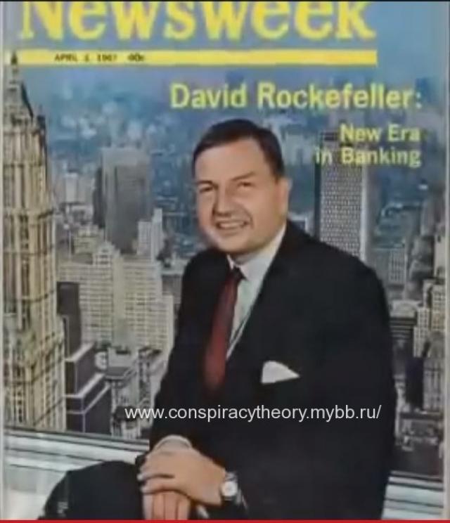 А вот он же на обложке журнала Newsweek за 3 апреля 1967 года.Дэвид Рокфеллер представлен какинициатор проектапостройки Башен-близнецов в Нью Йорке.