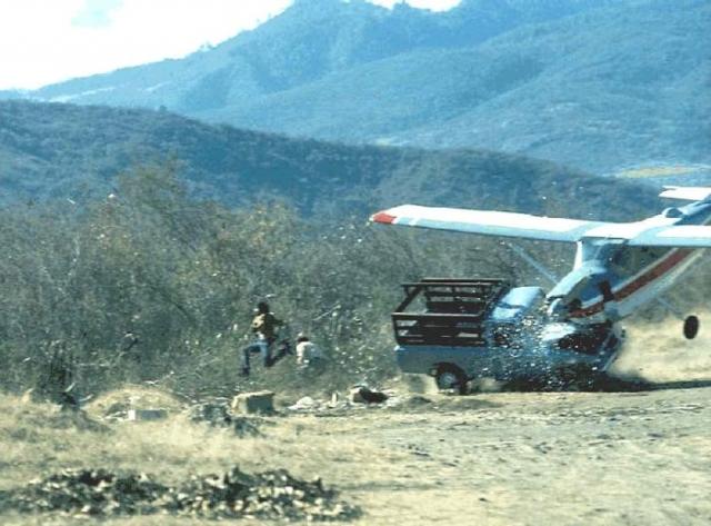 Из-за сильного встречного ветра приземляющийся самолет врезался в грузовик, который стоял неподалеку от взлетной полосы.