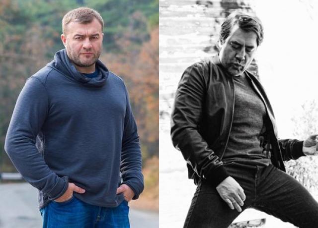 Михаил Пореченков и Хавьер Бардем (48 лет). Оба актера выглядят брутально, но западный коллега кажется более подтянутым, нежели Пореченков.