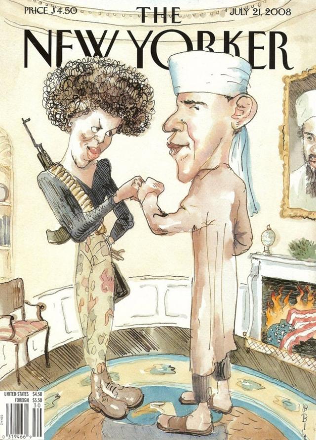 The New Yorker, июль 2008. Горящий американский флаг, портрет Бен Ладена на стене, а также появление американского президента с супругой в образе мусульманских террористов - обложка не могла быть еще более провокационной. Но ее создатель говорит, что просто пошутил над страхами американцев.