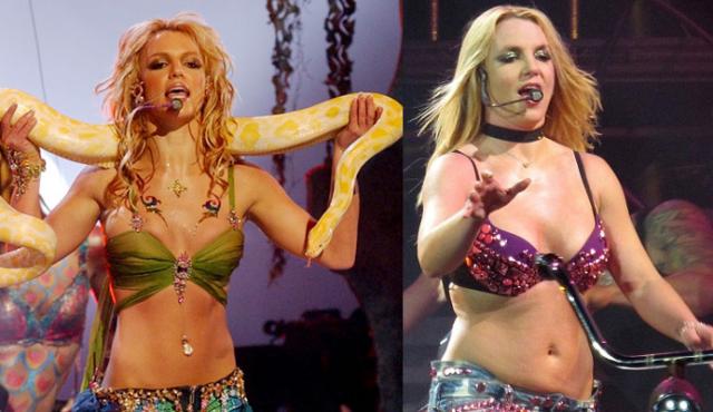 Бритни Спирс На заре карьеры Бритни Спирс была как пружинка - тонкая и мускулистая, так что недаром поп-звезда при любой возможности открывала живот демонстрируя прекрасный пресс. Спустя года Бритни не то чтобы оставила эту привычку, вот только эффект уже не тот.