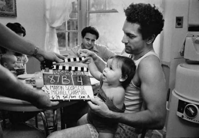 """Роберт Де Ниро и Джо Пеши вовремя съемок фильма """"Бешенный бык""""."""