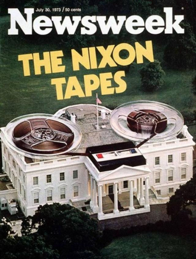 Newsweek, июль 1973. Речь в номере идет о скандале, известном в мире под названием Уотергейт и разразившимся после того, как президента Никсона заподозрили в установке прослушивающего оборудования в штабе демократов.