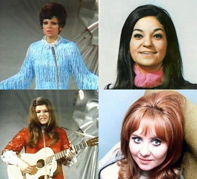 """Саломе, Лулу, Ленни Кюр и Фрида Боккара , Нидерланды, Испания, Великобритания, Франция (""""De troubadur"""", """"Vivo contanda"""", """"Boom Bang a Bang"""", """"Un jour, un enfant""""). В 1969 году сразу четыре исполнителя из разных стран заняли первое место, набрав одинаковое количество очков."""
