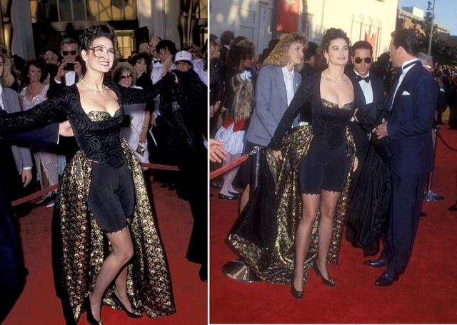 А вот в 1989 году Деми Мур явилась на церемонию вручения золотых статуэток в утягивающих панталонах.