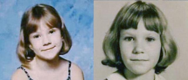 """Дочь (слева) разместила фото себя и своей матери в третьем классе, прокомментировав фото: """"Да, без сомнения, это моя мама""""."""