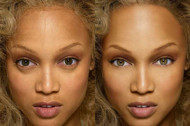 Тайра Бэнкс. Этот снимок модели слегка подретушировали, изменив цвет глаз.