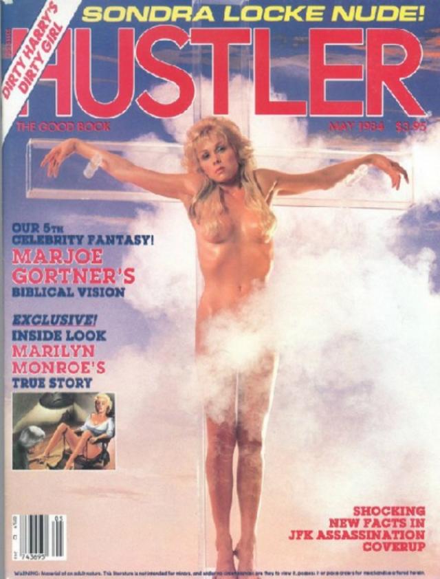 """В мае 1984 года Hustler предложил своим читателям узнать шокирующие факты о том, как скрывали подробности убийства президента Джона Кеннеди, настоящую историю Мэрилин Монро, а фотографией на обложке """"прошелся"""" по религии."""